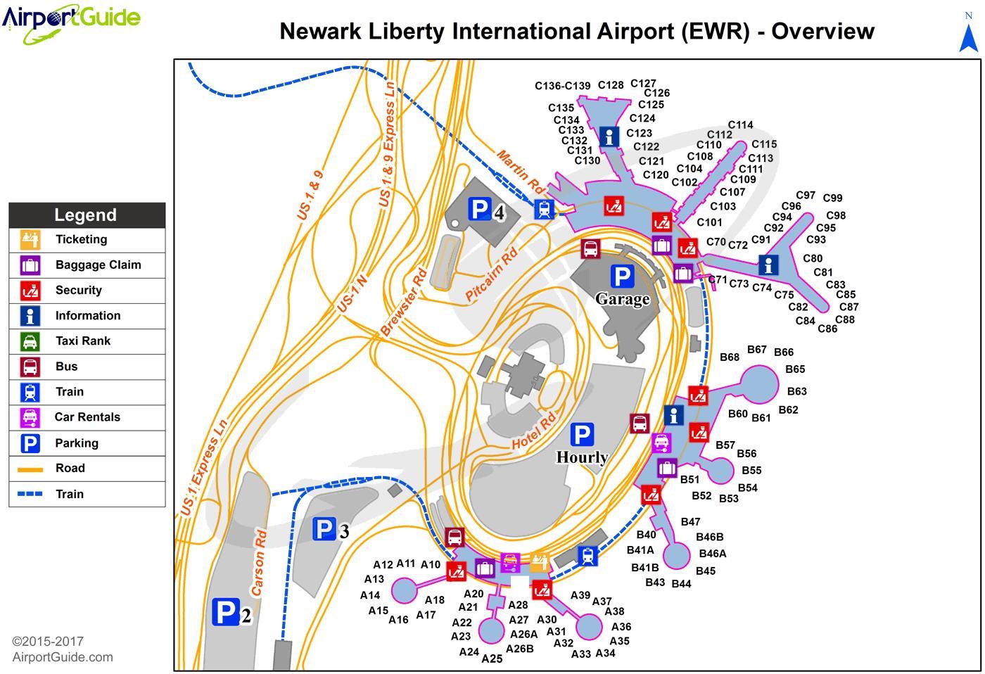 Aeroporto Ewr : Ewr aeroporto mappa new york ewr aeroporto mappa new york usa